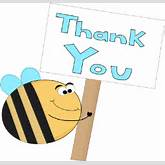 Bee Thank You Sign - clip art image of bee holding a big sign that ...