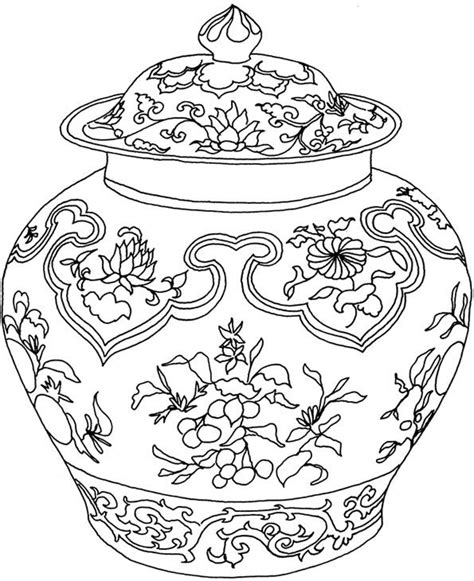 coloring pages for vase chinese vase travel the world kids craft pinterest