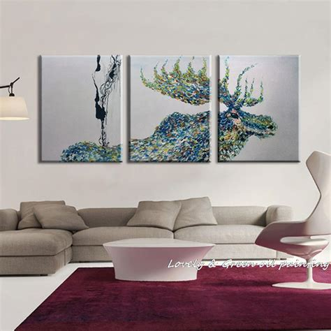 100 handpainted 3 panel modern decorative painting moose