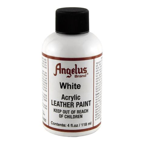 acrylic paint for leather angelus leather paint 4 oz white chickadee solutions