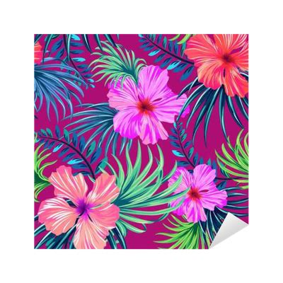 hibiscus pattern png vector seamless tropical pattern hibiscus and palm leaves