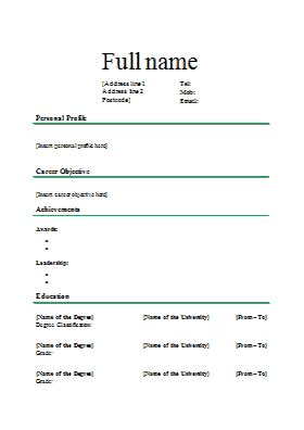 Standard Cv Layout by Standard Cv Template 3