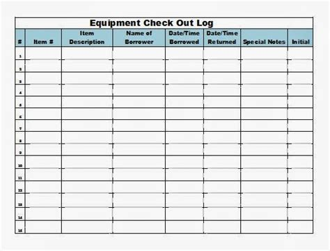 Equipment Checkout List Template The Admin Bitch Download Equipment Check Out Log Template Excel Format
