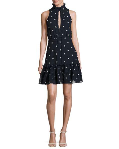 Mini Dress Navy Polka nicholas sleeveless polka dot silk mini dress navy blue white