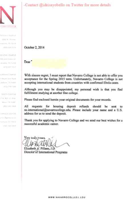 Acceptance Letter In Nigeria College Allegedly Rejects Student Because Of Ebola Fears Vocativ