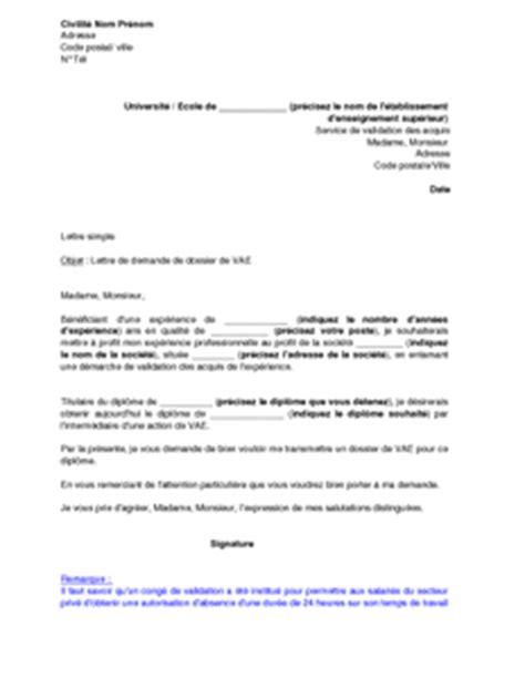 exemple gratuit de lettre demande envoi dossier validation acquis exp 233 rience vae