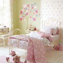 Little Girls Bedrooms White Metal Bed And Classic Nightstand For Feminine Little