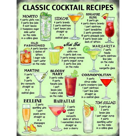 cocktail recipes vintage retro cocktail recipes kitchen wall