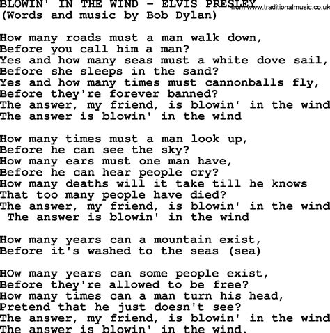 in lyrics blowin in the wind by elvis lyrics