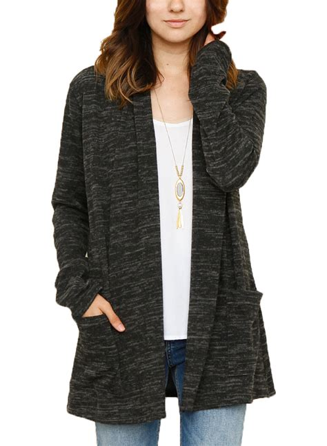 knit open front cardigan s sleeve solid color open front knit cardigan