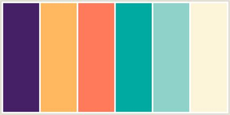 popular color combinations colorcombo7625 with hex colors 462066 ffb85f ff7a5a 00aaa0 8ed2c9 fcf4d9