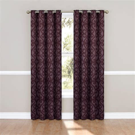 95 curtain panels with grommets eclipse patricia blackout aubergine grommet curtain panel