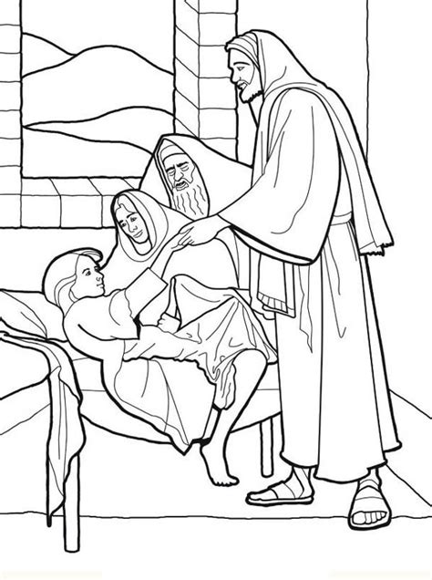 coloring page jesus healing sick sick girl who healed by miracles of jesus coloring page