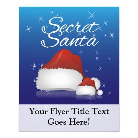 Secret Santa Blue Hat Personalized Flyer Zazzle Secret Santa Flyer Templates