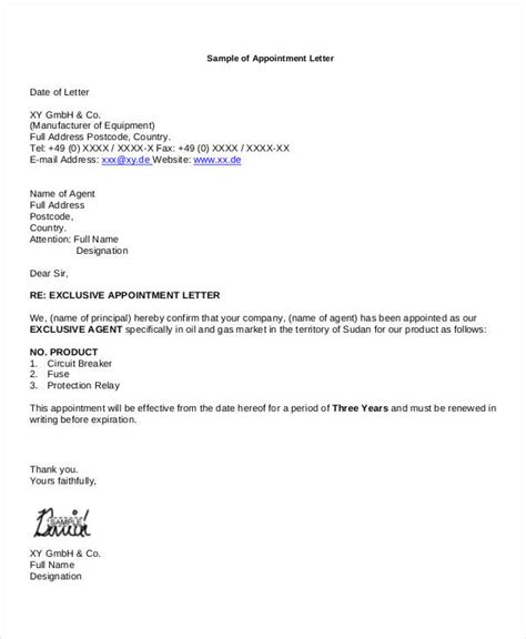 business appointment letter exle 11 business appointment letter template free sle