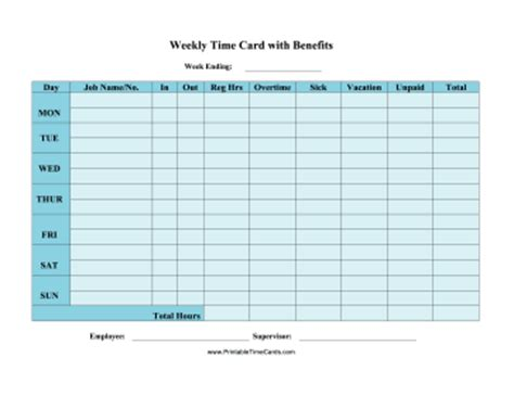 employee weekly time card template weekly time card with benefits time card