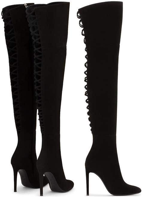 giuseppe zanottis sleek   knee alis boots  intricate lacing