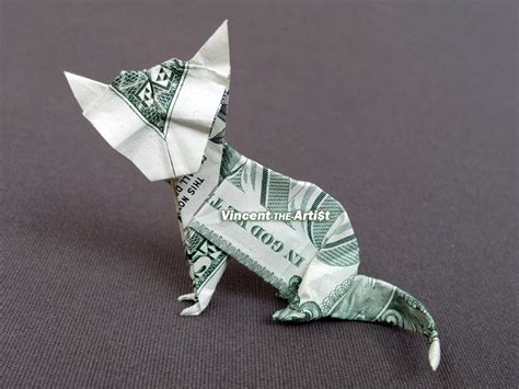 Origami Dollar Animals - sitting cat money origami animal pet vincent the artist
