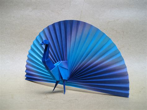 Peacock Origami - peacock origami paper two sheets cm 15x15 and 12x12 x