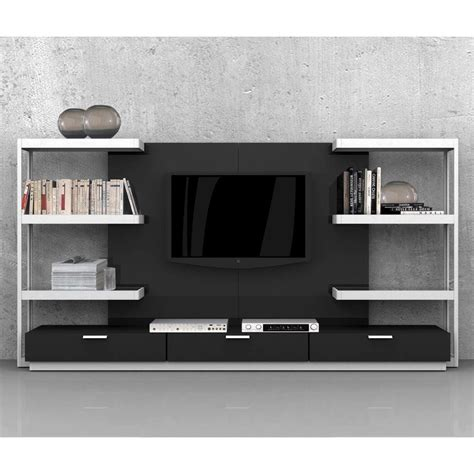modern tv wall system lighted shelves drawers black