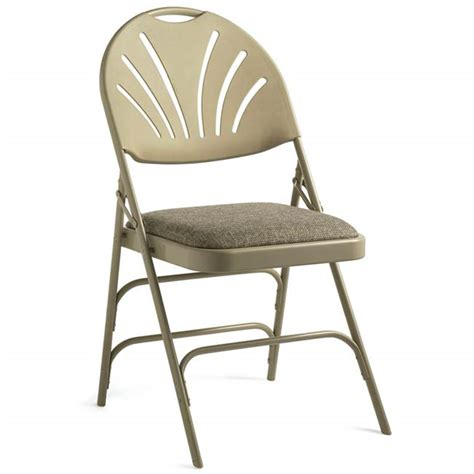 metal folding chairs with padded seats samsonite xl fanback steel folding chair w padded seat