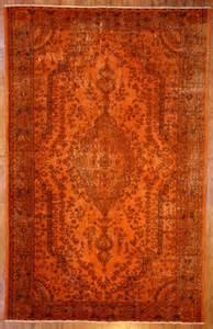 burnt orange overdyed rug