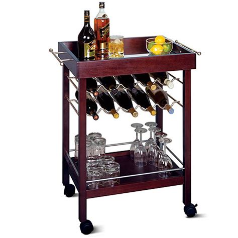 Rolling Bar 10 Bottle Rolling Bar Cart With Shelf Walmart