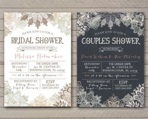 free printable wedding shower for couples vintage lace shower invitation bridal couples baby
