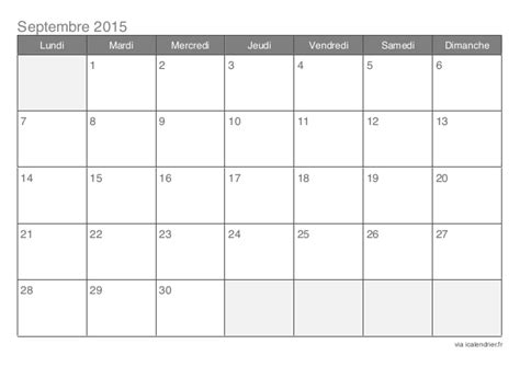 Calendrier 9 Septembre 2015 Calendrier 2015 Mensuel 12 Mois