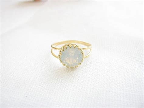 gold opal ring white opal ring gold ring with by moonlidesigns