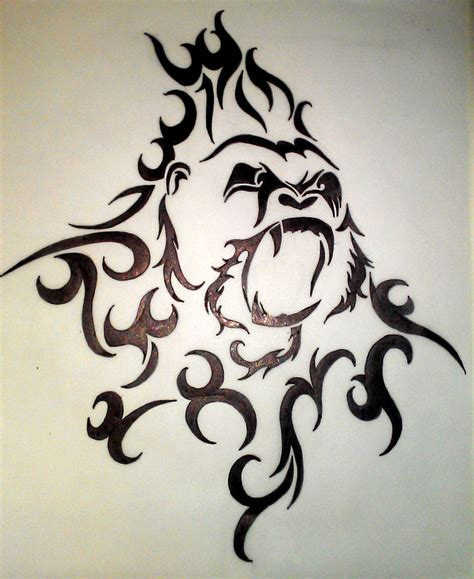 tribal design 3 gorilla by wynterborneink on deviantart