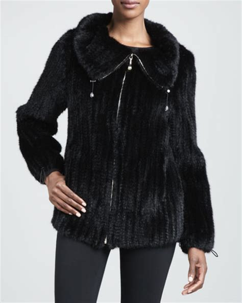 knitted mink jacket fare knitted mink fur jacket black