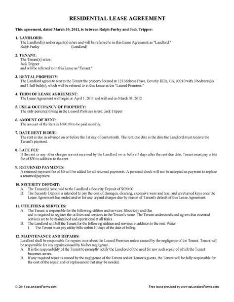 Free Lease Agreement Template No Credit Card 4 Renters Lease Agreement Printable Receipt