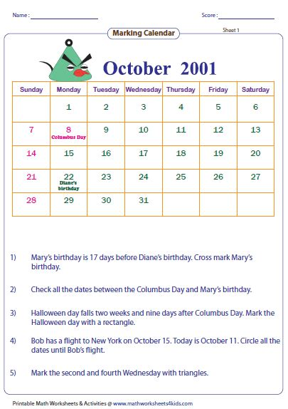 Calendar Questions Reading Calendar Worksheets With Word Problems