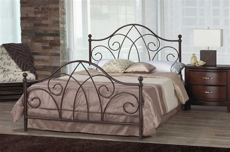 Brittany Scroll Caramel Brown Wrought Iron Double Bed Iron Scroll Bed Frame