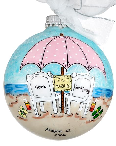 beach wedding or honeymoon personalized ornament