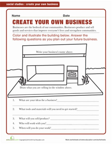 design your own experiment exle starting a business for kids worksheet education com