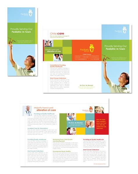 pediatrician child care tri fold brochure template 리플렛