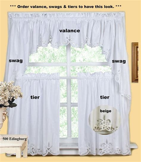 batteburg kitchen curtain valance tier swag beige white ebay