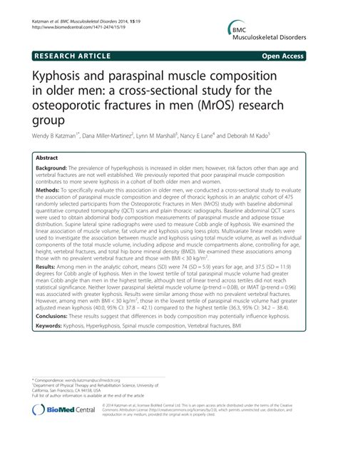 cross sectional study pdf kyphosis and paraspinal muscle composition in older men a