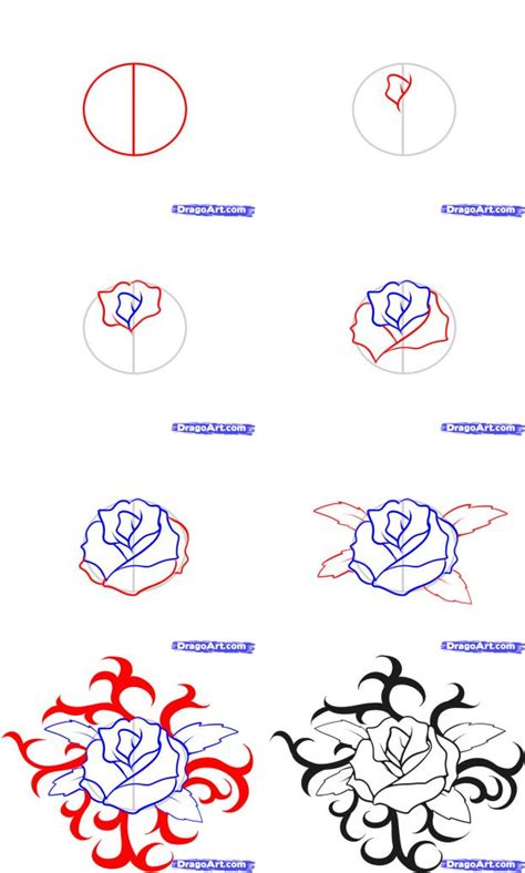 rose tattoo tutorial how to draw a
