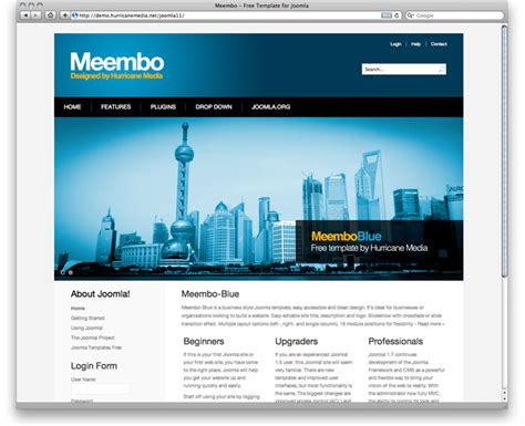 templates joomla business free template meembo blue for joomla 2 5 rizvn