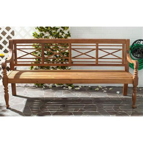 natural wood bench outdoor safavieh karoo natural patio bench pat6704b the home depot