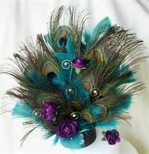 Large Turquoise Vase Teal Peacock Cake Top Plum Purple Teal Feathers Peacock