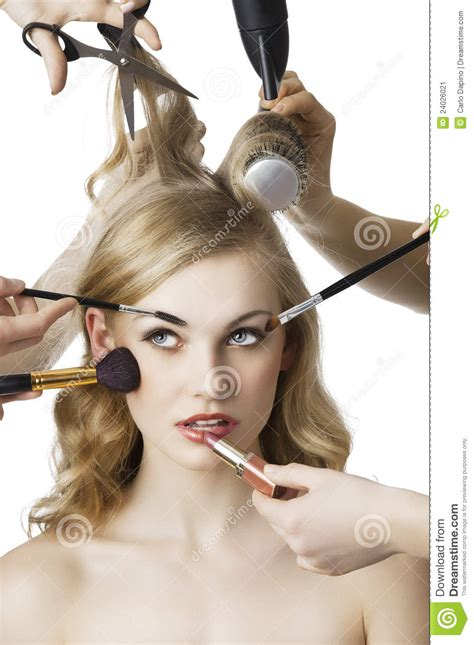 Hair Stylist Wardrobe by In Salon The Looks Up At Right Stock Image