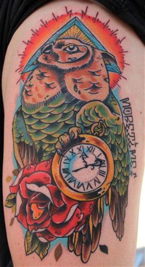 tattoo old school clock clock old school owl thigh tattoo by sake tattoo crew