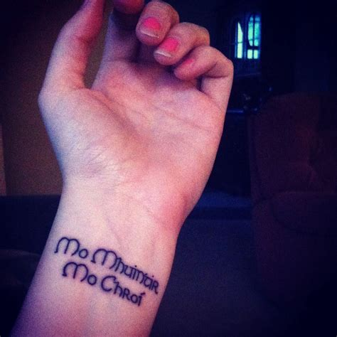irish wrist tattoos mo mhuintir mo chroi quot my family my quot in gaelic