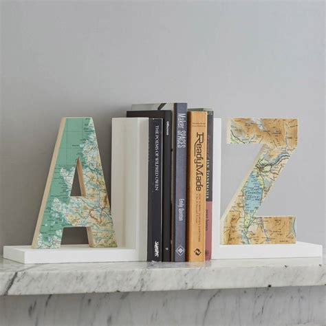 book end personalised map location letter bookend by bombus