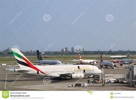 emirates jfk emirates airline airbus a380 at jfk airport in new york