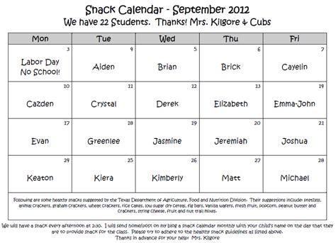 Kindergarten Snack Calendar Template